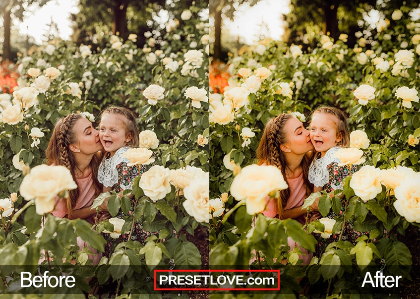 A vibrant outdoor photo of a mother and daughter in flowering fields