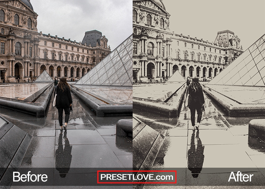 A soft monochrome photo of a woman walking towards the the Louvre