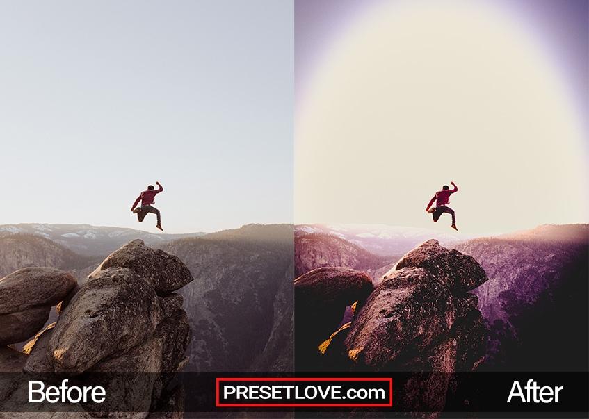 A jump shot of a man on a rocky mountaintop