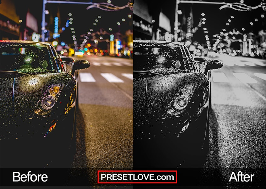 A night black and white Lightroom preset applied on the photo of a  black car