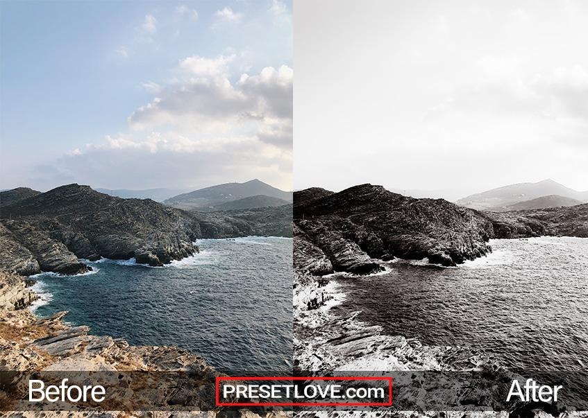 A sharp black and white image of rocks on a coast