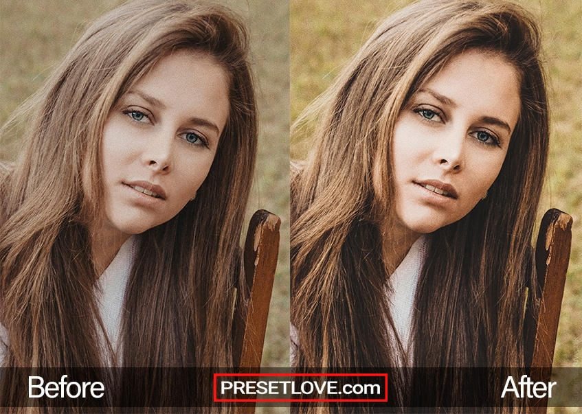 A clear and vivid portrait of a woman with brown hair and blue eyes