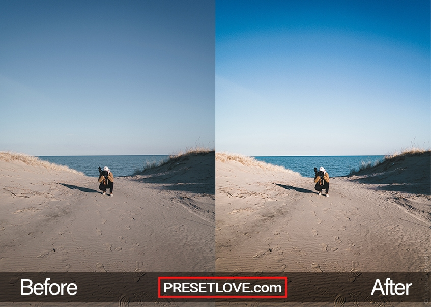 A vibrant matte photo of a photographer with the sea behind him