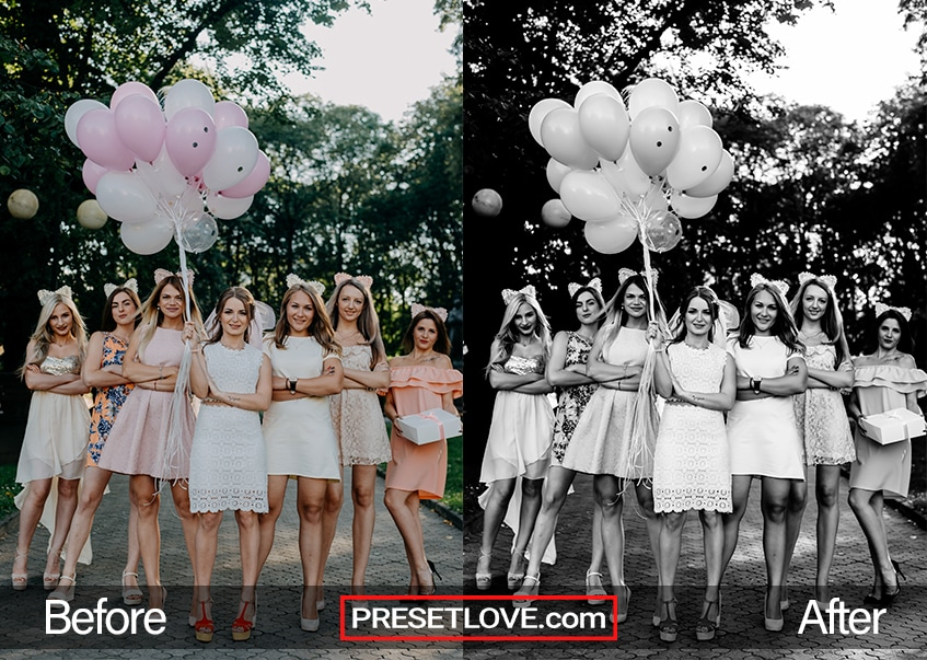 A vibrant black and white photo of bridesmaids holding balloons