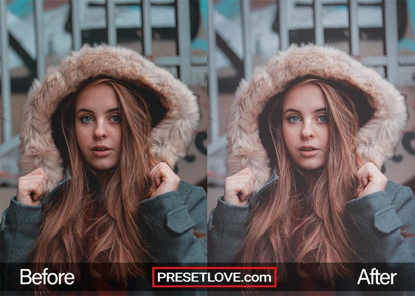 A dark matte Lightroom preset applied to a film portrait of a woman wearing a coat