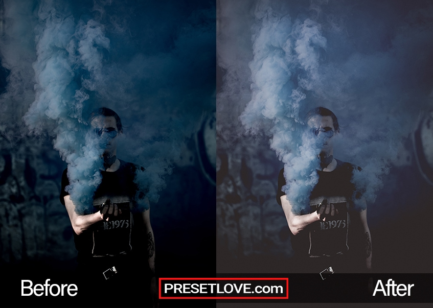 A dark matte Lightroom preset applied to a photo of a man covered in smoke