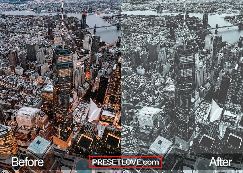 A soft monochrome cityscape