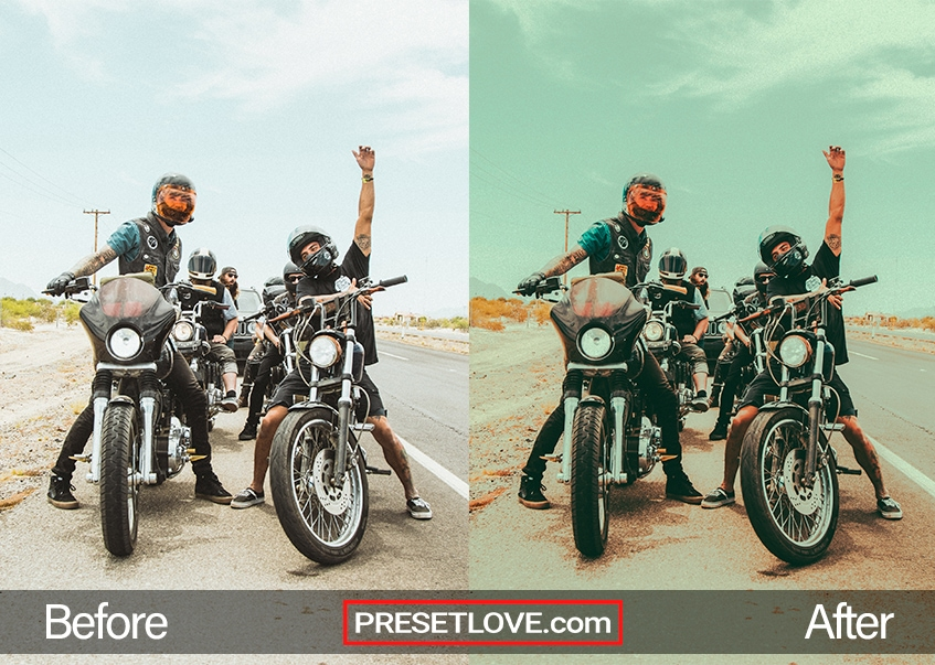 A retro lomography image of men in motorcycles