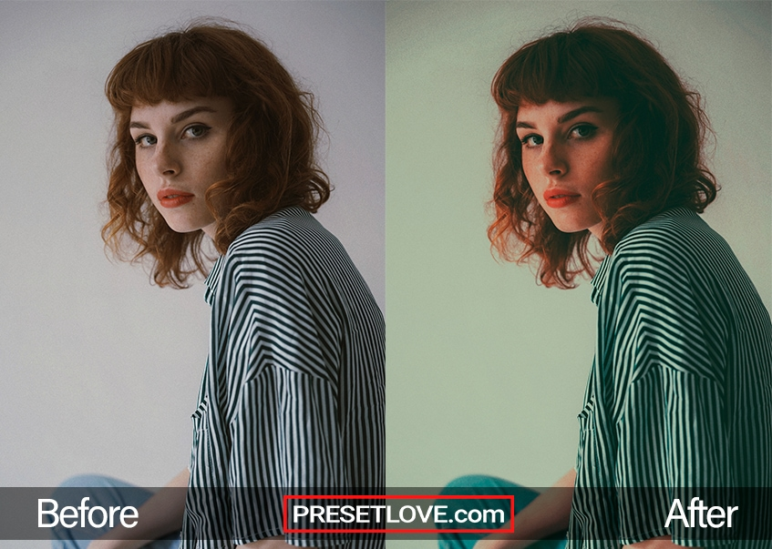 A retro lomography portrait of a woman wearing a striped shirt indoors
