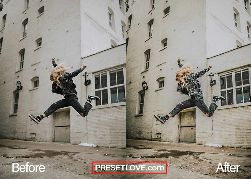 An urban HDR photo of a woman in mid-jump