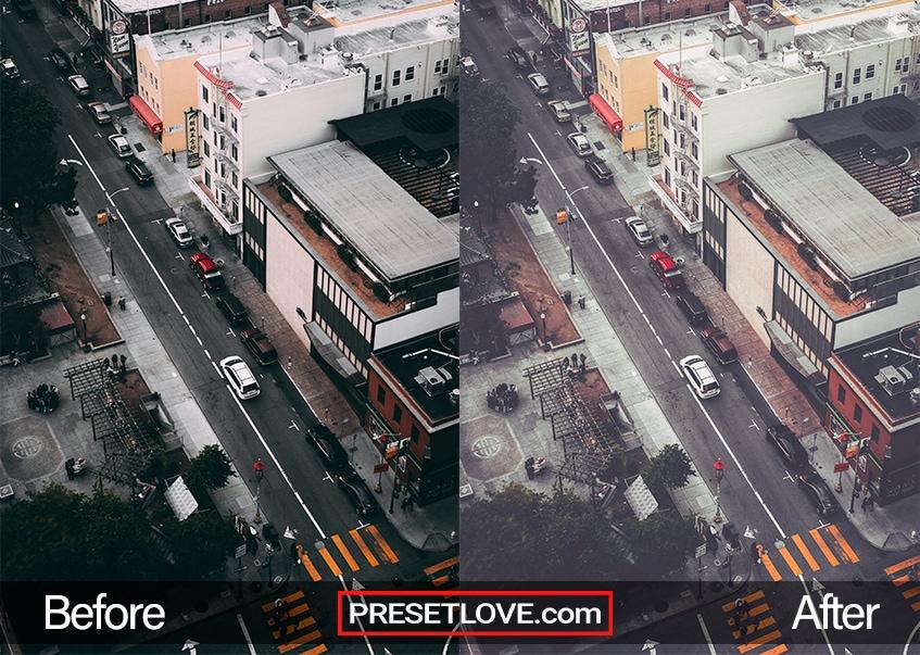 A matte aerial photo of an urban street