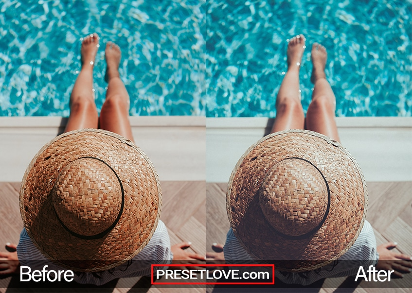 A woman wearing a rimmed hat while sitting by a swimming pool