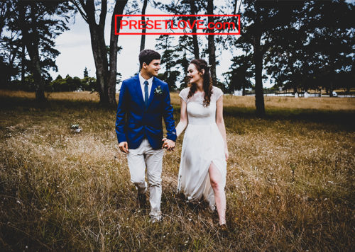 A vignetted photo of a bride and groom strolling in a field