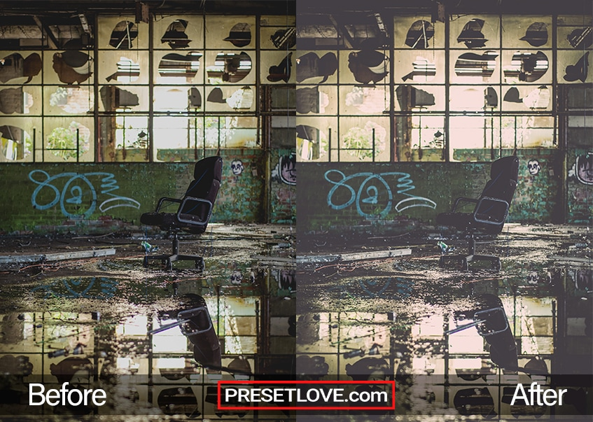 A dark and grungy photo of a leather chair in the middle of an abandoned room