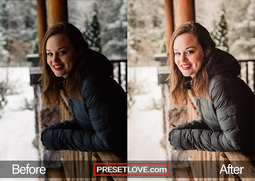 Shows Preset effects on Woman Detailed Outdoor Portrait with snow on porch