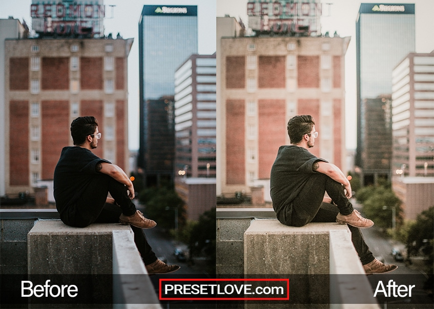 Man sitting on Roof in Urbanscape Scene with Warm Exposure