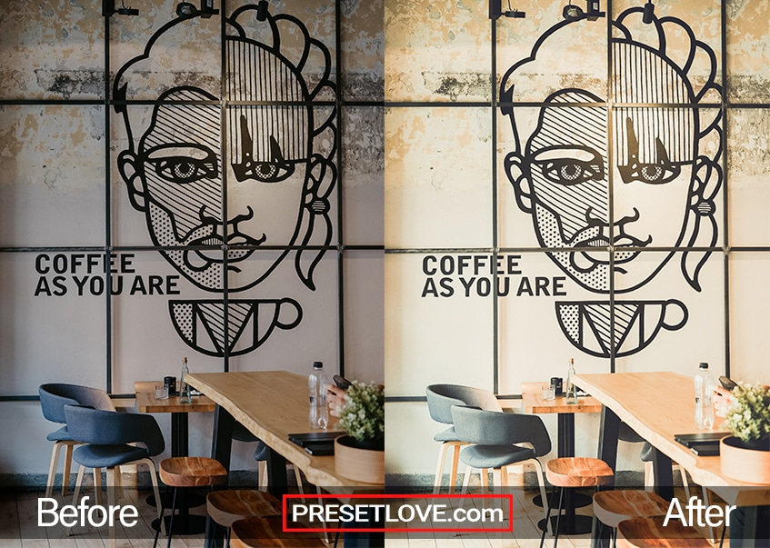 Photo examples of a light and cozy cafe enhanced by a film emulation Lightroom preset