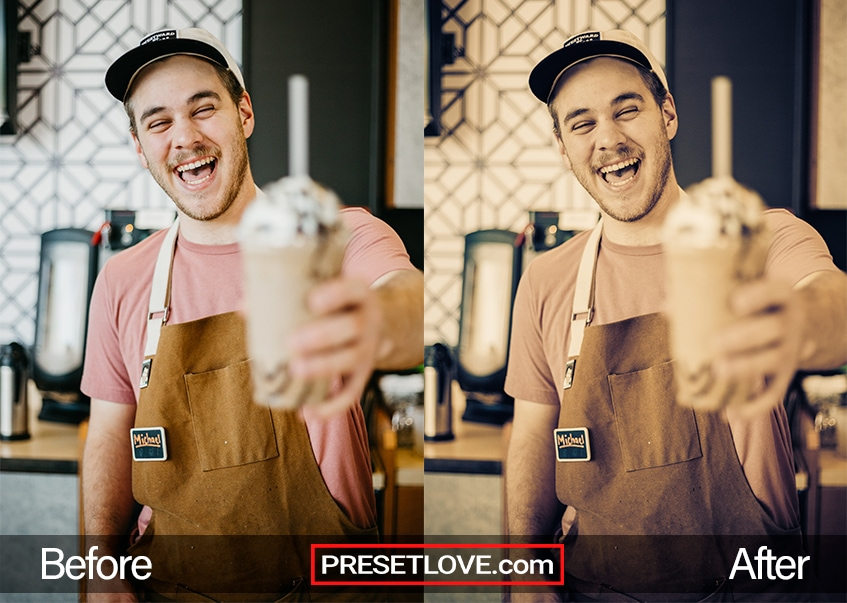 An expressive cross-processed photo of a barista holding up a cup of frosty drink