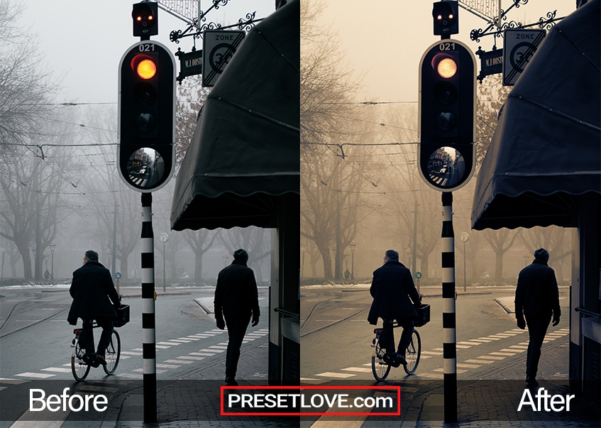 A dramatic cross-processed photo of a man crossing the street on a bicycle and a man walking at the sidewalk