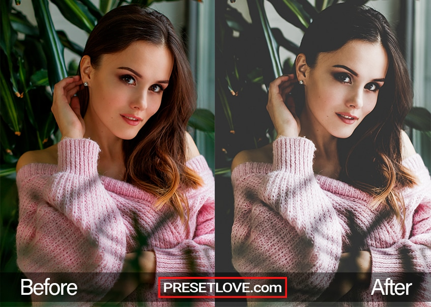A lightened portrait of a woman in a pink sweater
