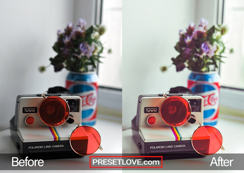 A vibrant Polaroid Spectra of a Polaroid camera with round red sunglasses on top of it