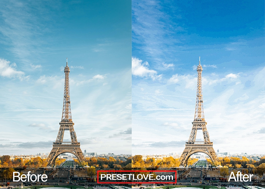 A photo of the Eiffel Tower brightened with a preset