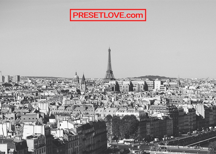 A black and white cityscape of Paris, France