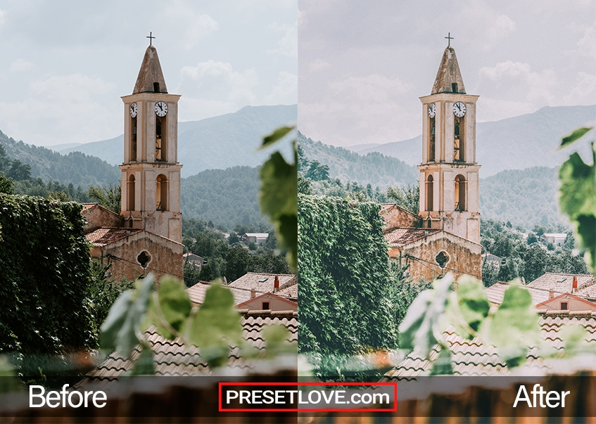 A church bell tower with lightened colors