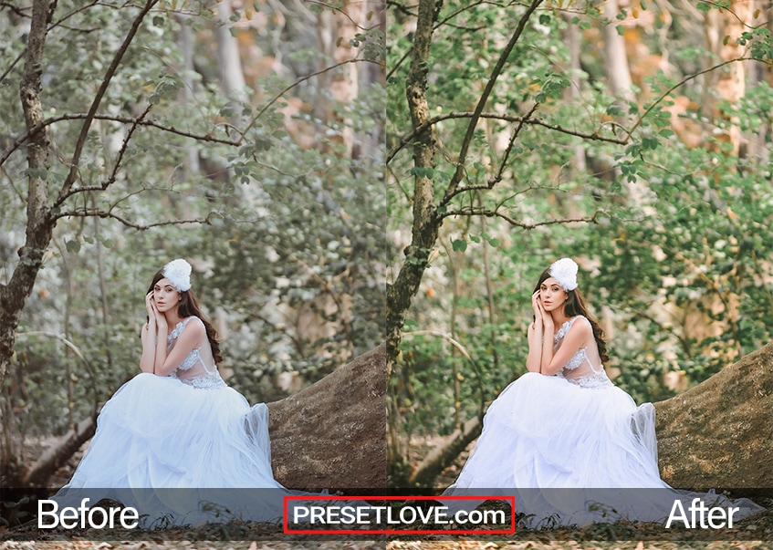 A bright and vibrant photo of a bride sitting on a log
