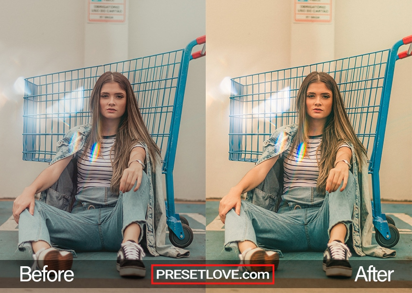 A bright and vivid analog film photo of a woman sitting on the floor and leaning on a shopping cart