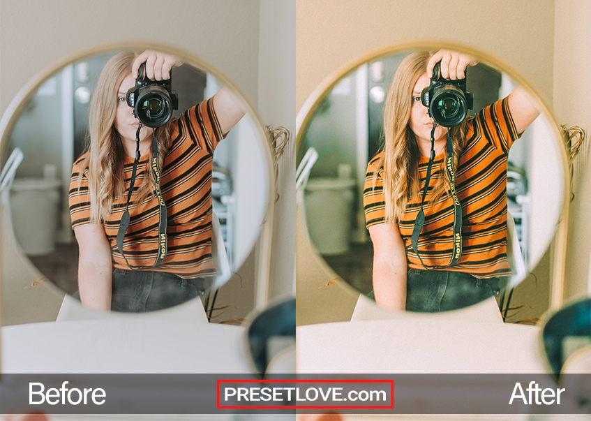 A woman taking a mirror selfie using a DSLR