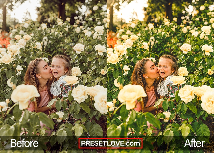 A mother and daughter in a lush and vibrant field of flowers