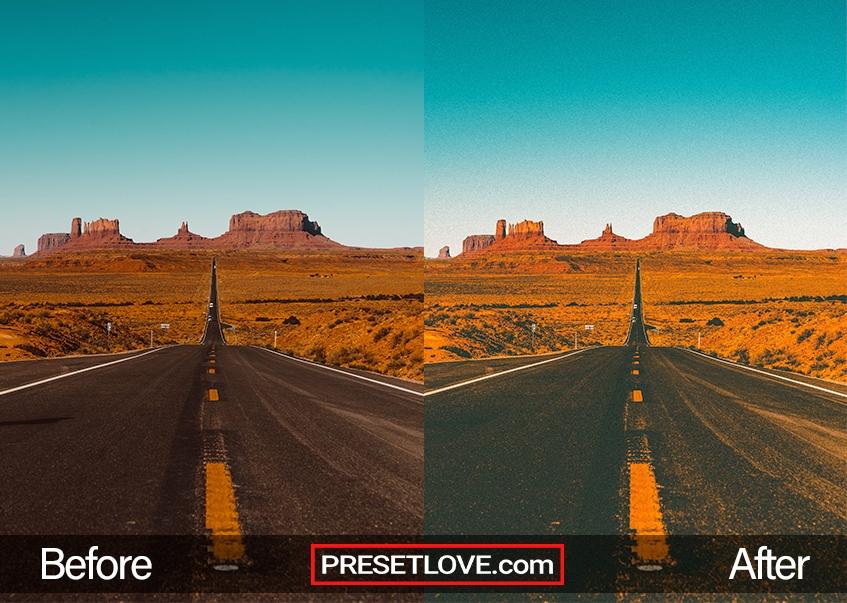 A warm film matte photo of an open highway