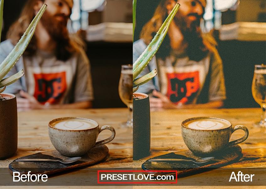 A warm film photo of a coffee in a textured mug