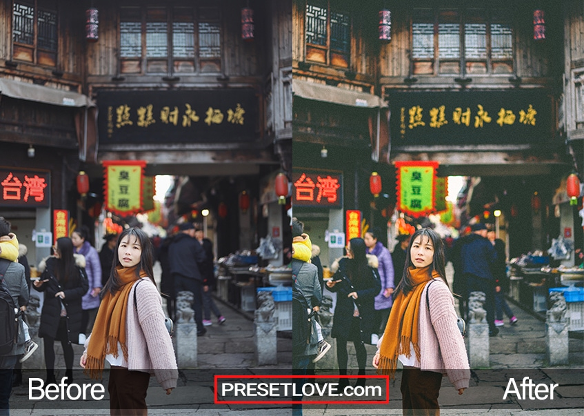 A matte photo of a woman wearing an orange scarf and standing at the middle of an urban street with store signs in Chinese