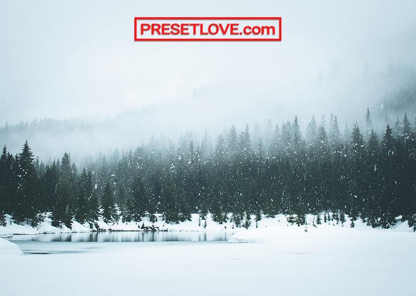 A winter landscape with aqua tint
