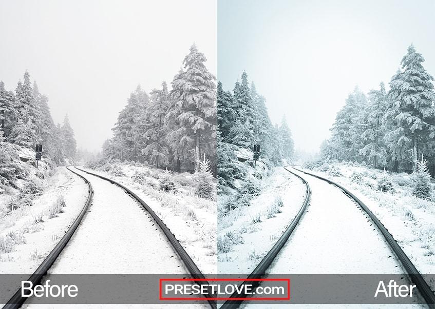Snow-covered railroad tracks
