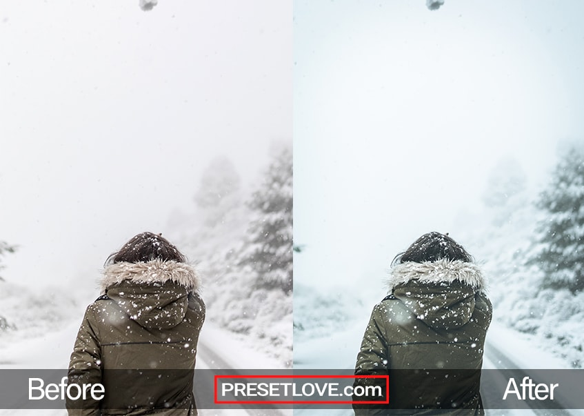 A woman outdoors during snowfall