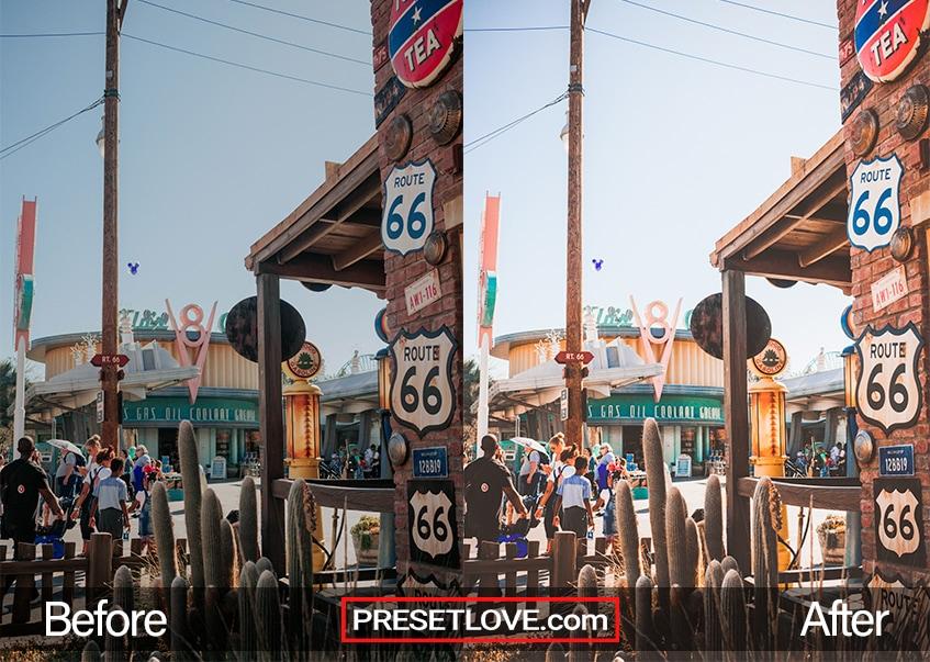 A bright and colorful retro photo of establishments in Route 66