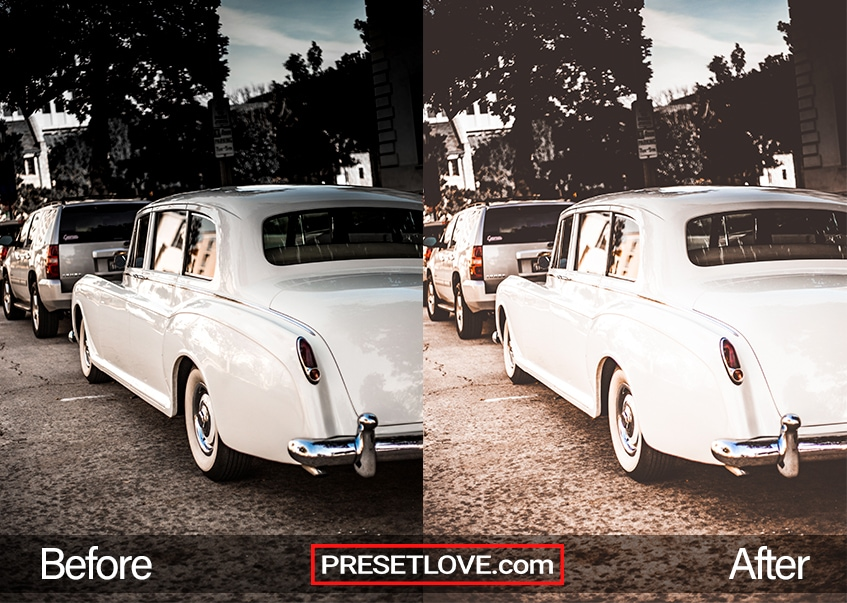 A bright retro photo of white vintage cars parked at the side of the road