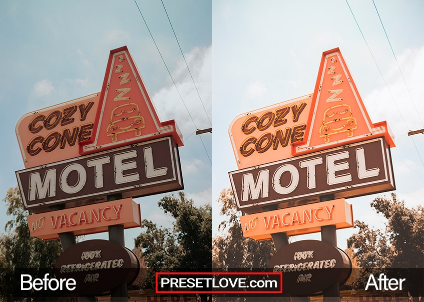"""A warm and bright image of an orange motel signage that says """"Cozy Cone Motel"""""""