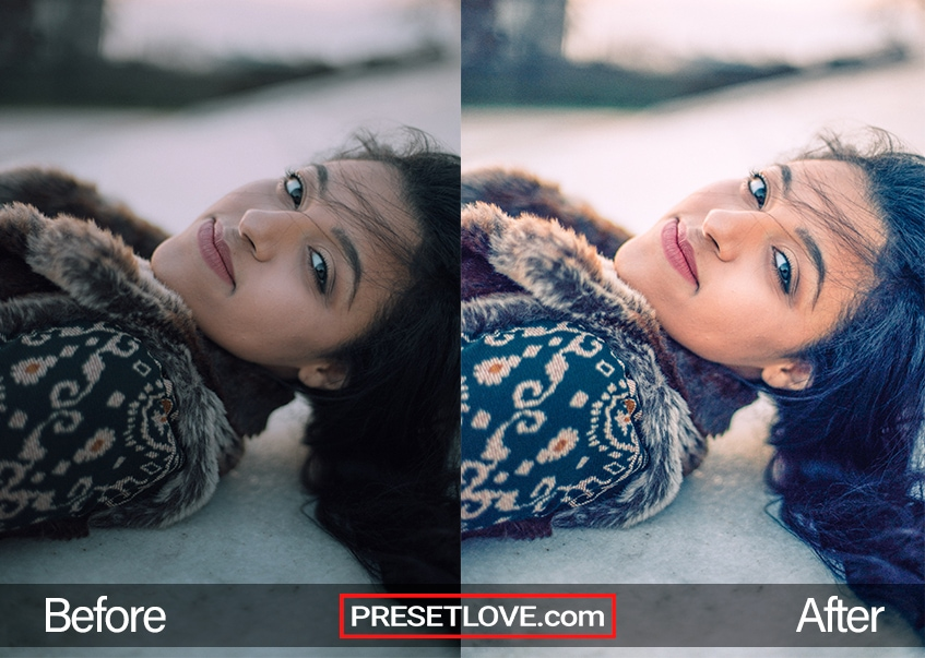 A warm and vivid portrait of a woman lying on the snow