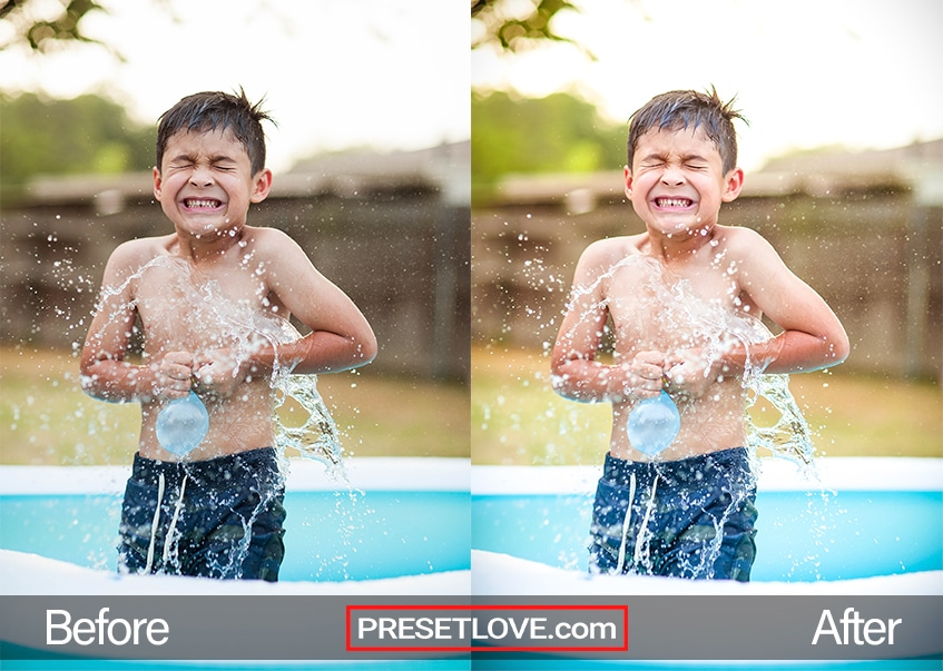 A lively photo of a boy cheerfully splashing water onto himself