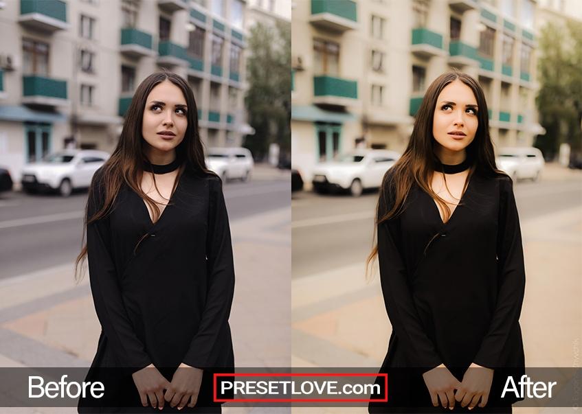 A woman wearing a black dress