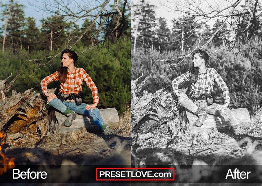 A woman sitting on a log