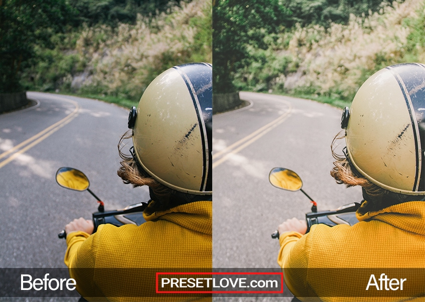 A warm retro photo of a man riding a motorcycle with a yellow shirt