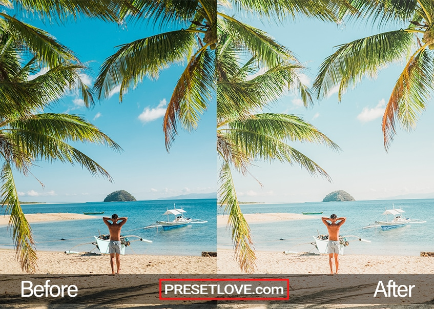 A warm tropical photo of a man at a beach, with palm trees in the foreground, with a matte summer preset applied