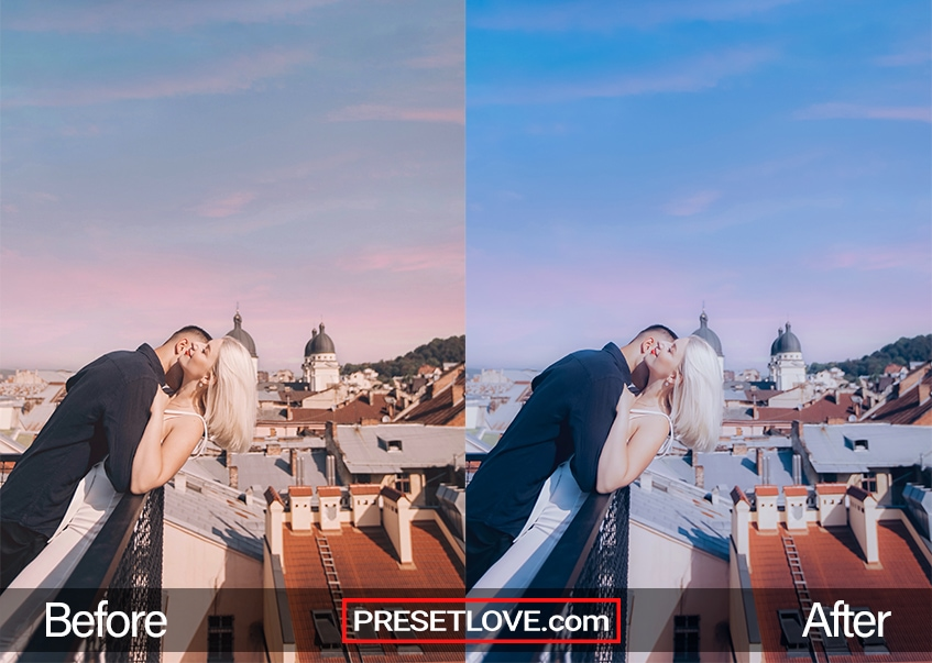 A smooth cool photo of a couple at a balcony, with a vivid blue and pink sky at the background