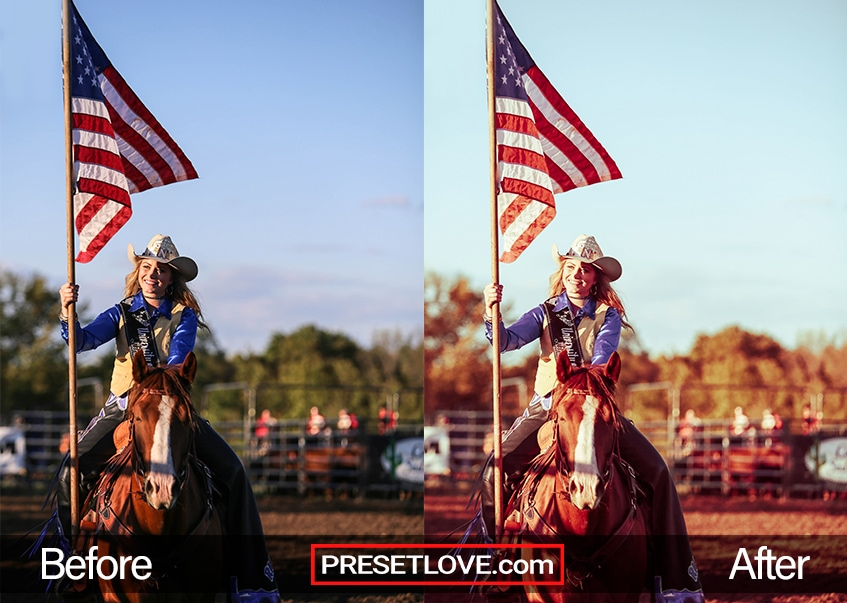 A retro photo of a woman carying a flag while on a horse