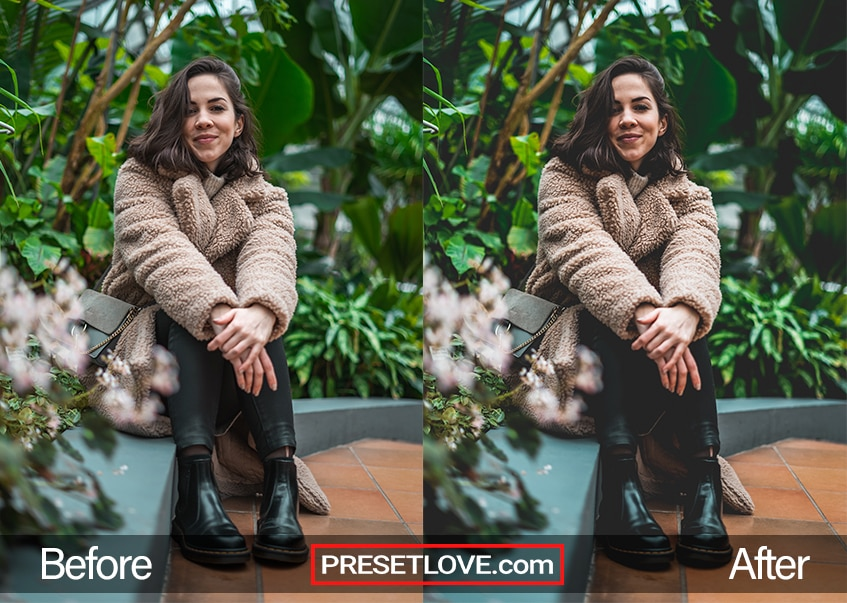 A vivid matte film portrait of a woman in a brown coat sitting next to foliage